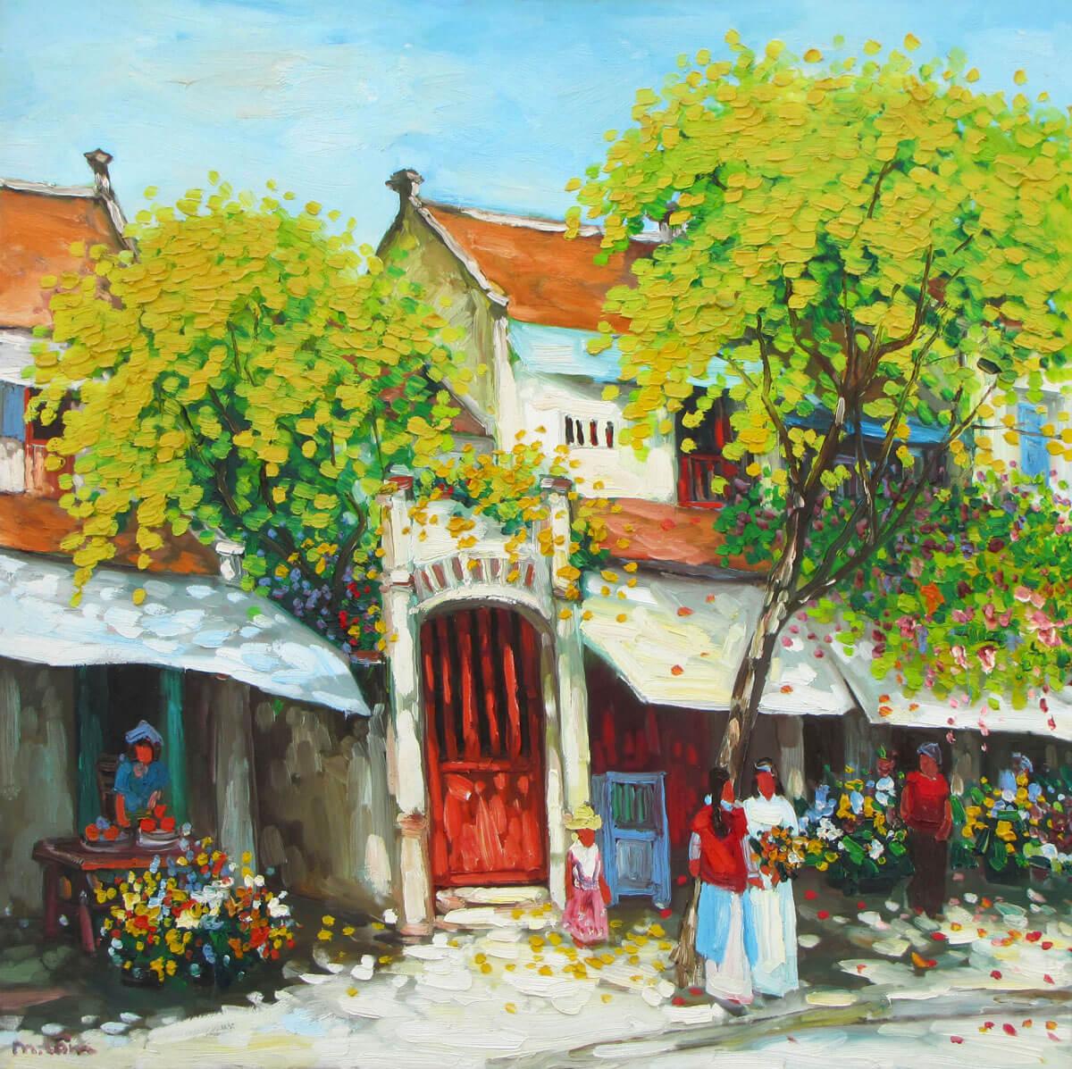 Streetscene in Hanoi 01-Original Vietnamese Art