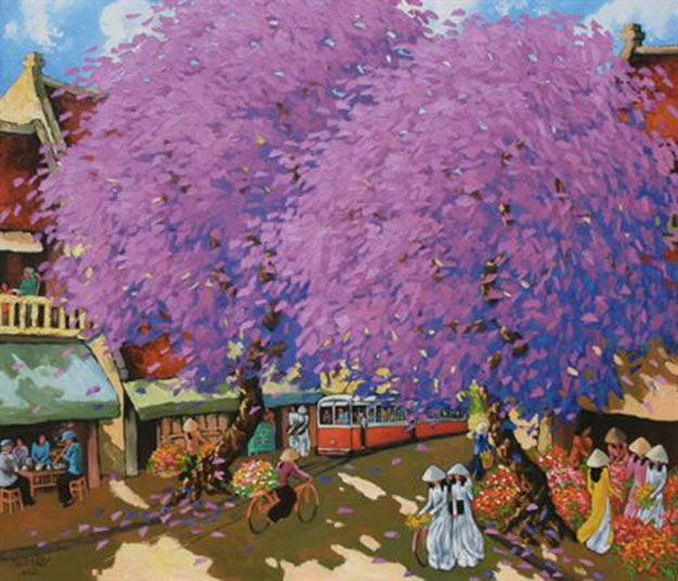 Streetscene in Hanoi 02 - Oil on Canvas painting by Vietnamese Artist Duong Ngoc Son