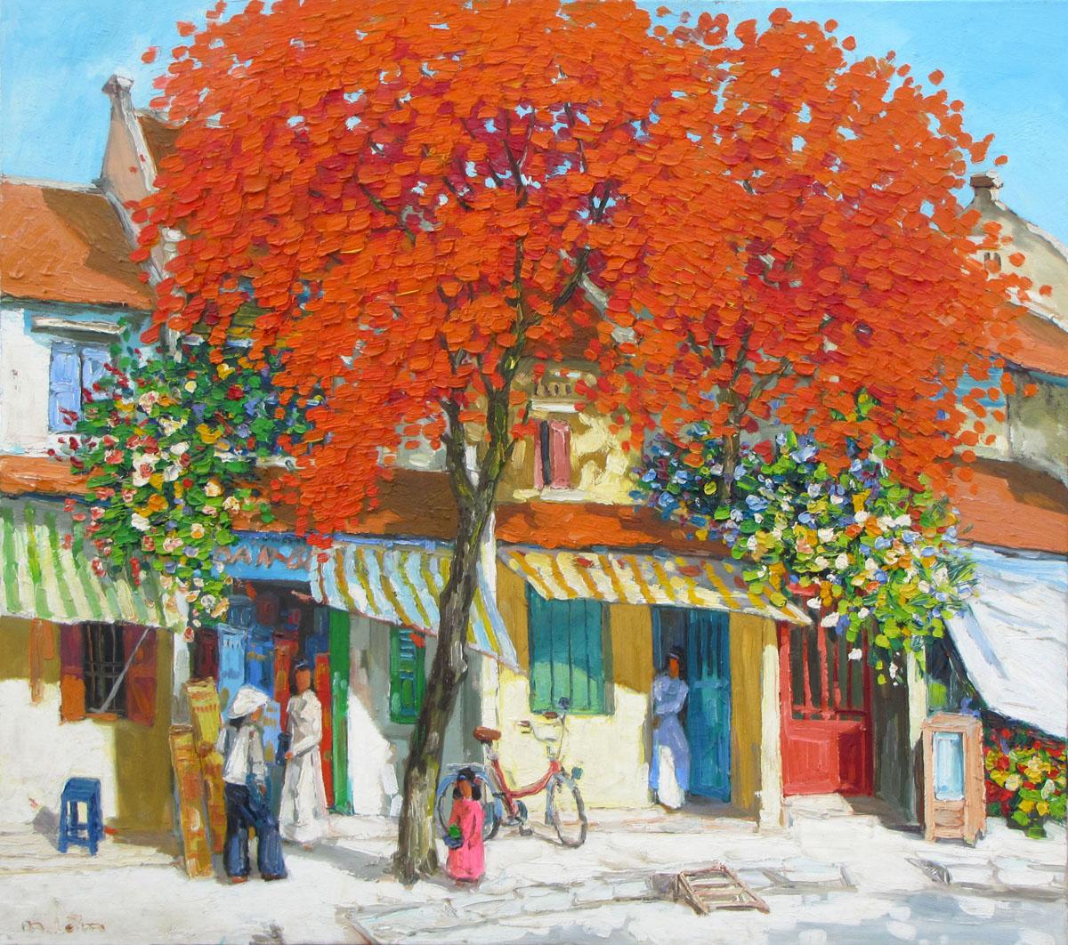 Streetscene in Summer 01-Original Vietnamese Art