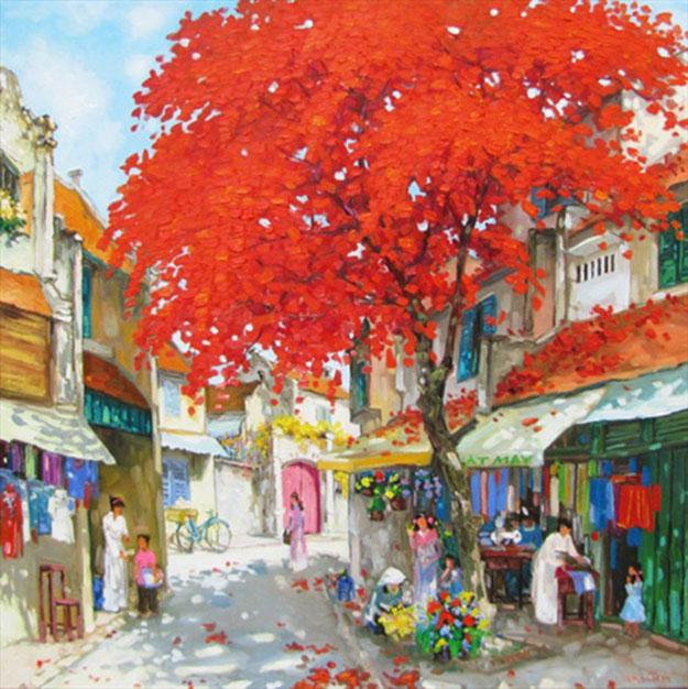 Streetscene in Summer-02-Original Vietnamese Art