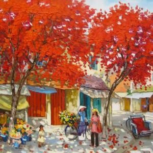 Streetscene in Summer-04-Original Vietnamese Art