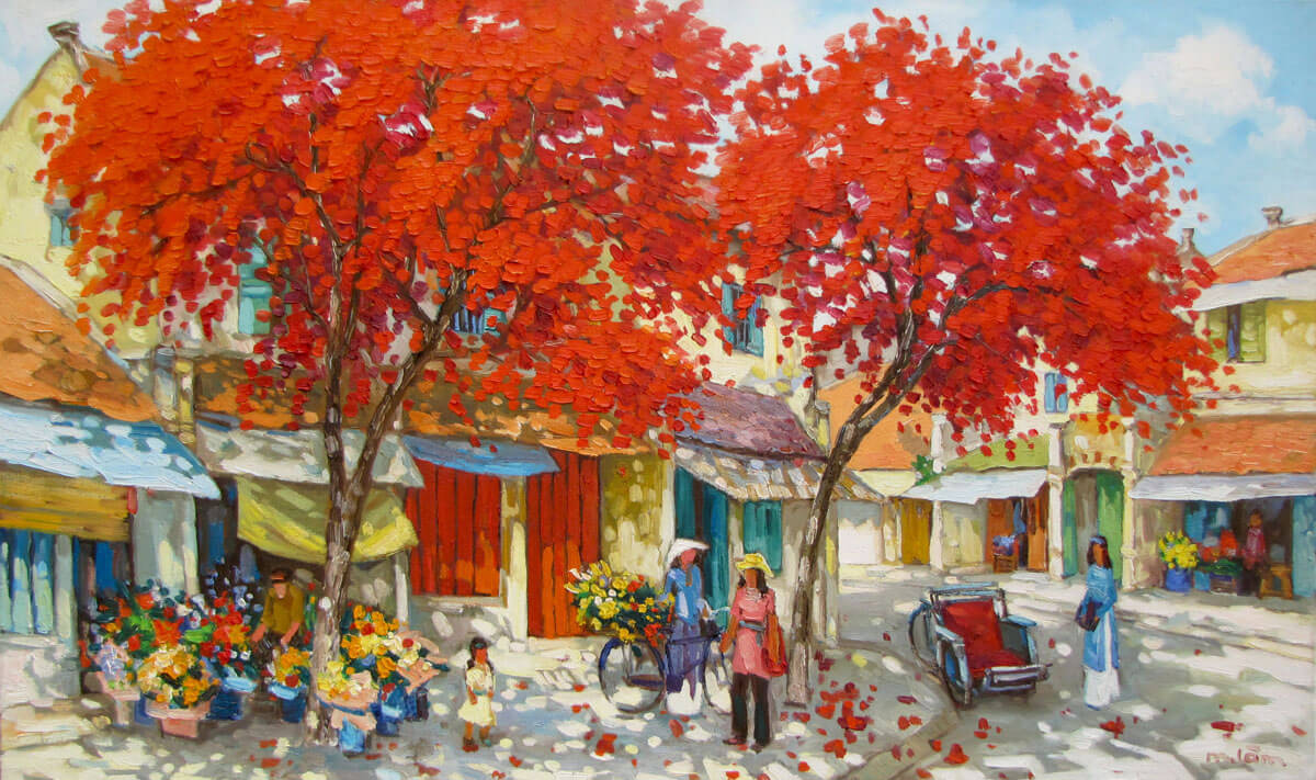 Streetscene in Summer-04-Original Vietnamese Art