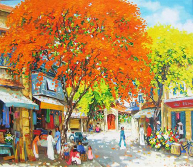 The summer in Hanoi 05-Original Vietnamese Art