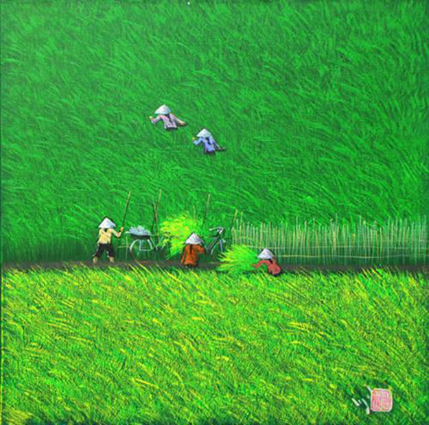 Two paddy-fields-Vietnamese Painting