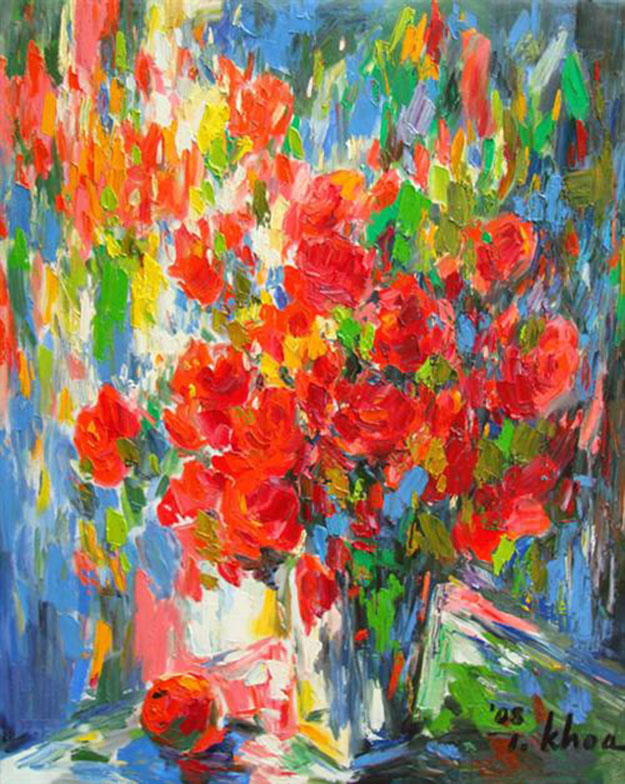 Vase of flowers and fruit 01-TK - Oil on Canvas painting by Vietnamese Artist Trinh Khoa