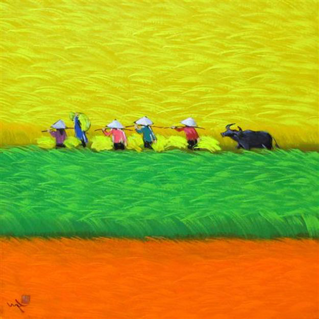 View of rice field 03 -Vietnamese Painting