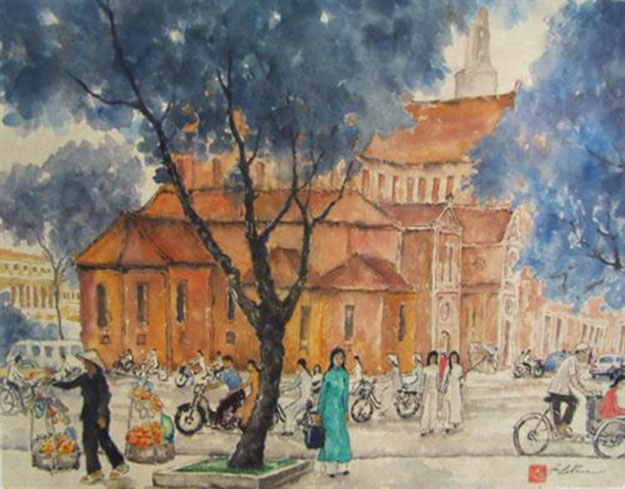 View of the church 3 -Original Asian Art