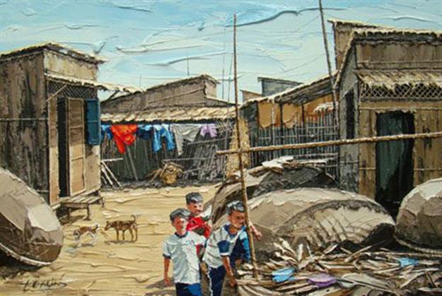 View of village-Original Vietnamese Art Gallery