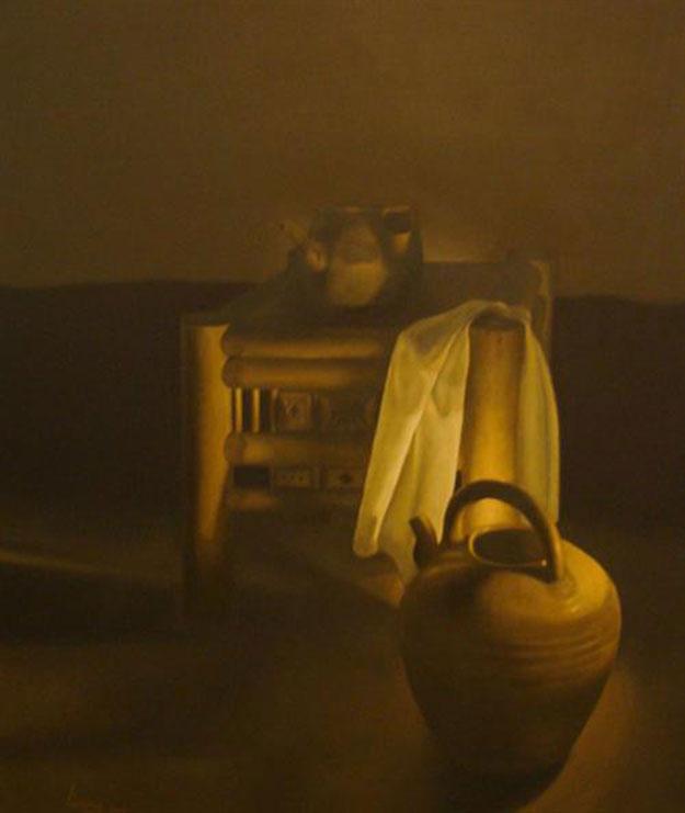 White cloth and bamboo chair-Original Vietnamese Art Gallery