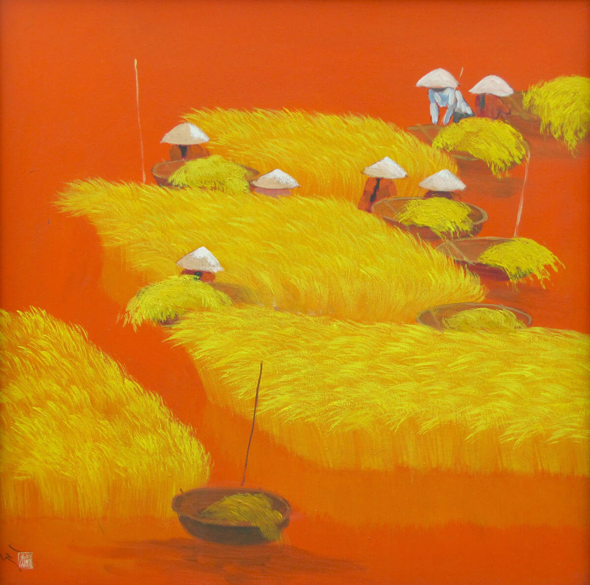 Working on the rice field 06 -Vietnamese Painting