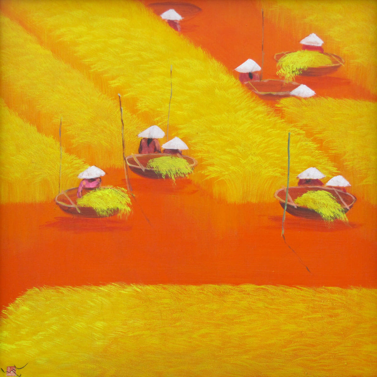 Working on the rice field-Vietnamese Painting