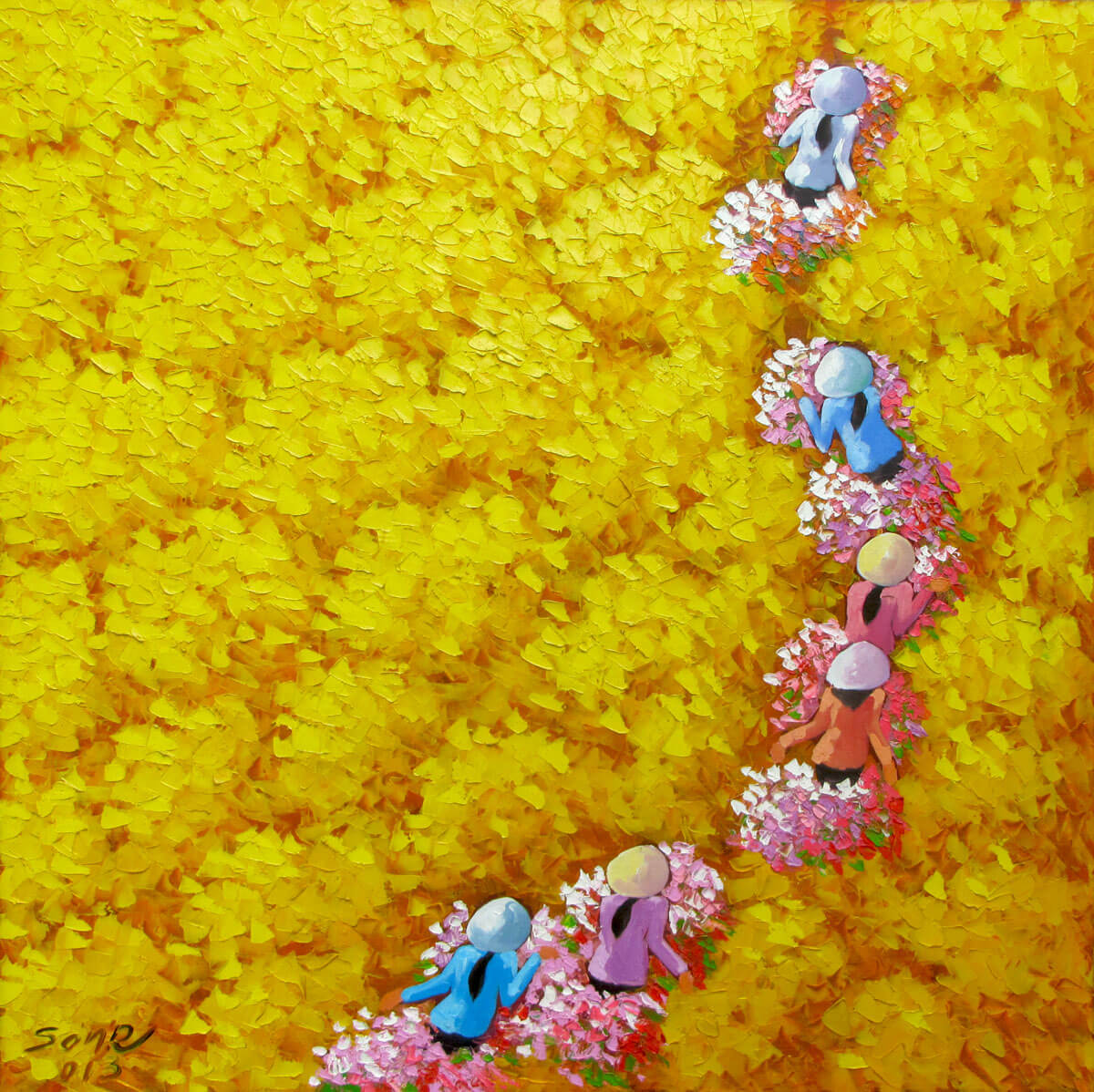 Yellow flower field 2-Original Vietnamese Art