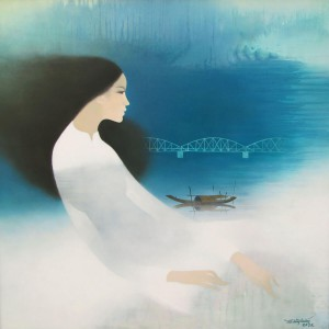 Young Lady and the river-Original Asian Art