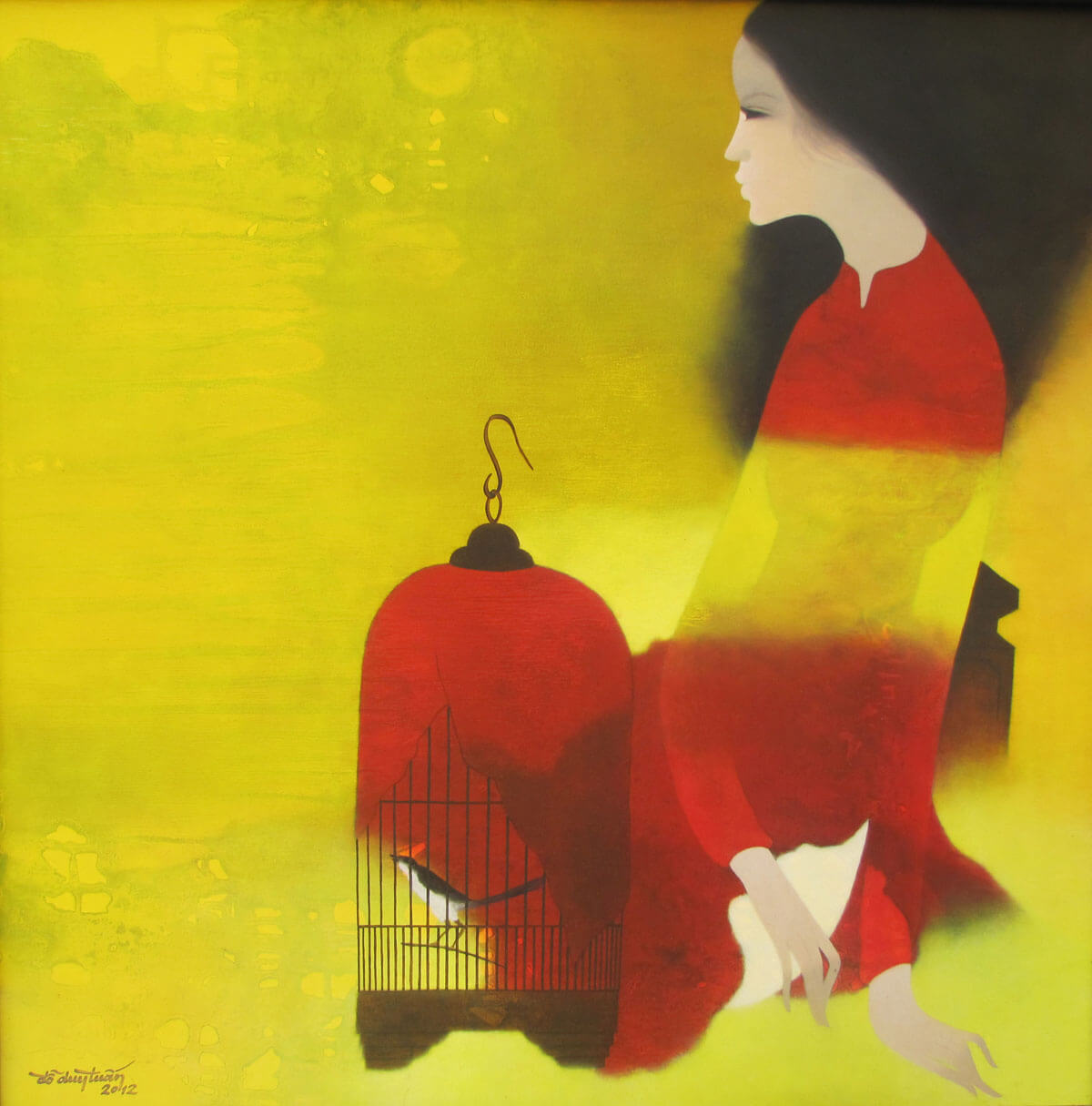 Young Lady with bird cage-Original Asian Art