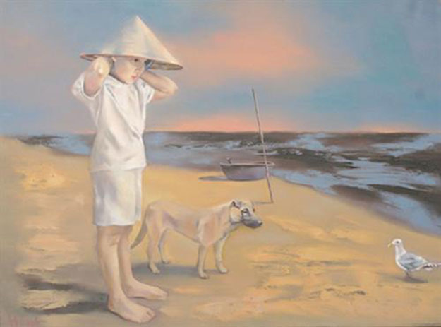 Young girl & Sea bird-Original Vietnamese Art Gallery