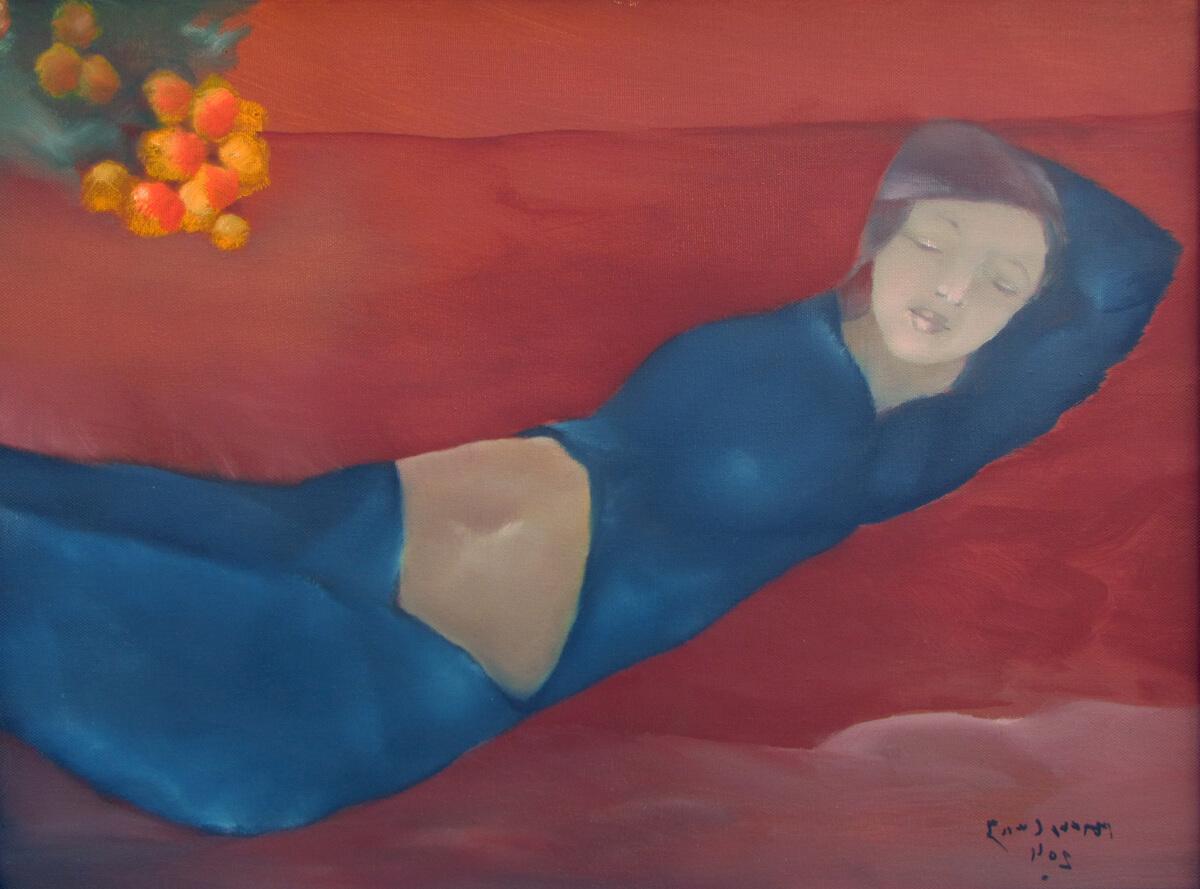 Young lady rests at noon-Original Vietnamese Art