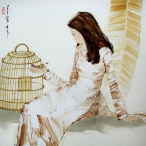 lady with bird-Original Asian Art
