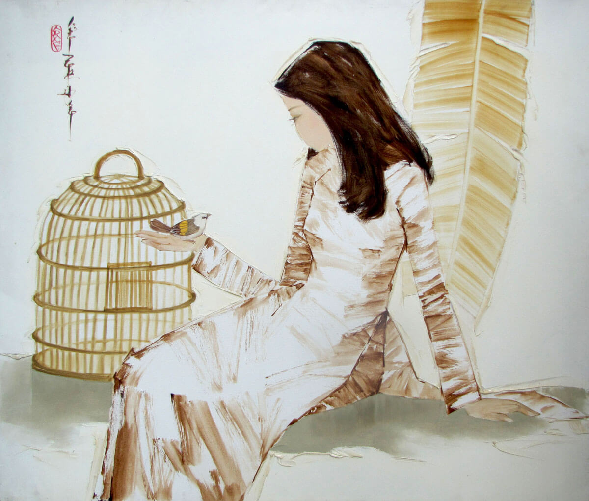 lady with bird-Original Asian Art