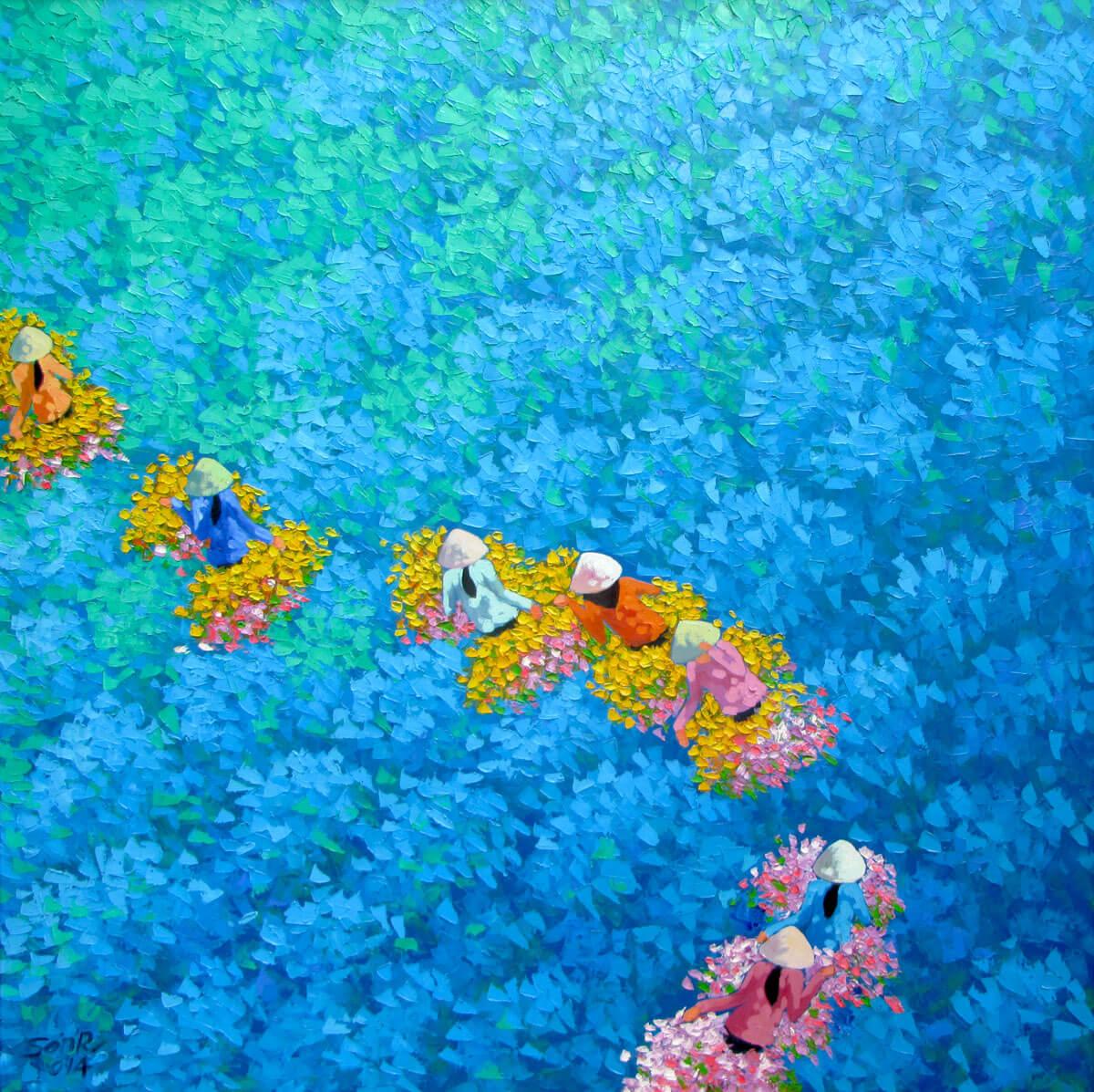 Blue flower field-03 -Original Vietnamese Art