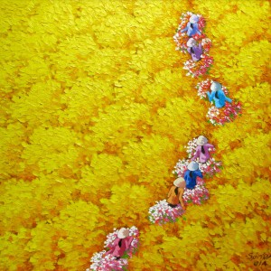 Yellow flower field-03-Original Vietnamese Art