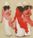 Young girls in Red-Original Vietnamese Art