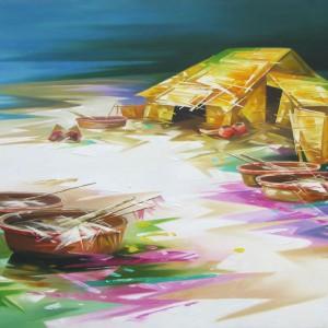 Fishing Village -Original Asian Art