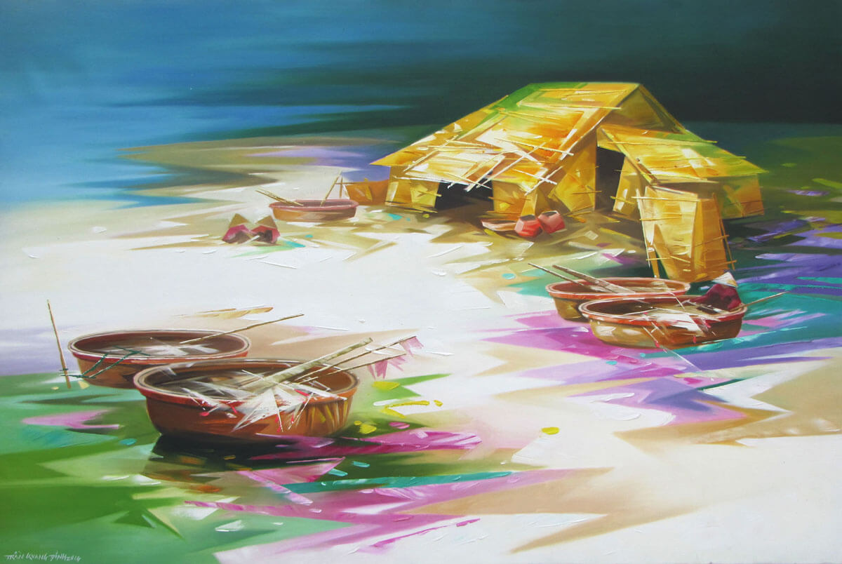 Fishing Village -Original Asian Art