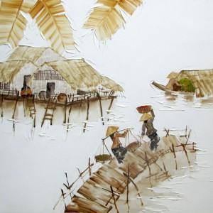 Houses on stilts -Original Asian Art