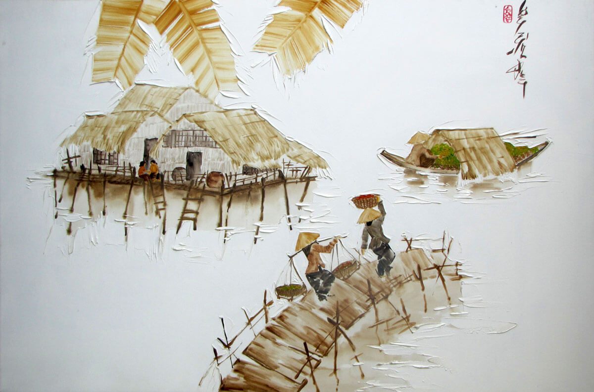 Houses on stilts -Original Asian Art