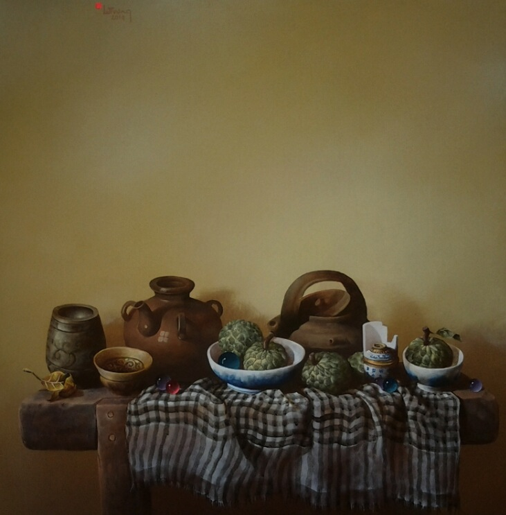 Still-life with fruit and antique pots-Original Vietnamese Art
