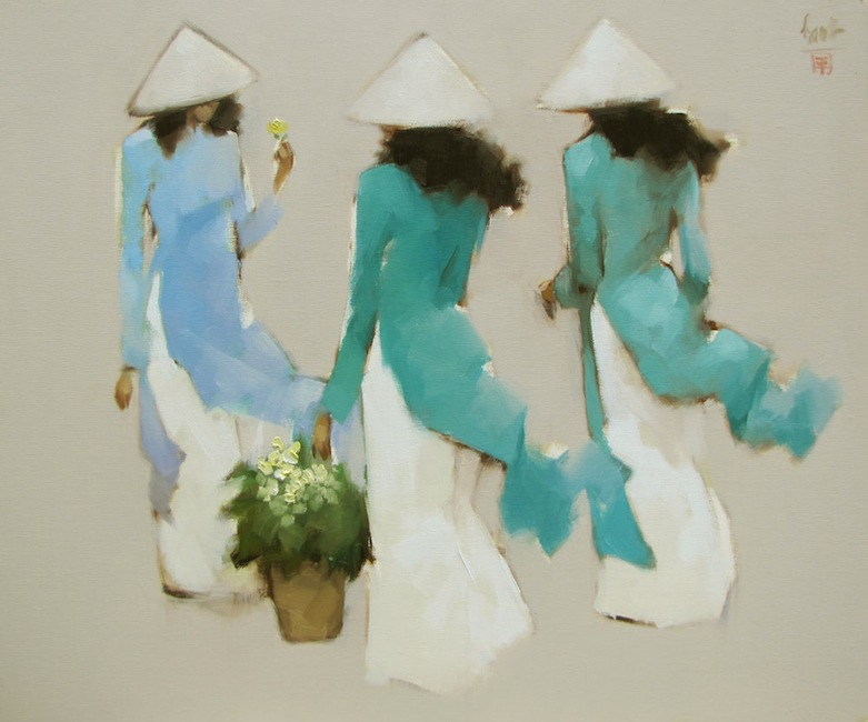 Young girls-in-blue-Oil-on-Canvas-painting-by-Vietnamese-Artist-Nguyen-Thanh-Binh
