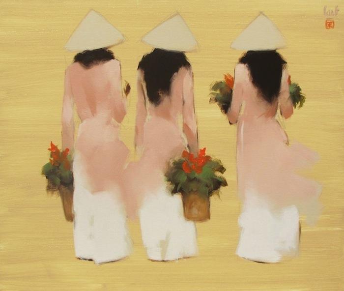 Young girls in pink-Original Vietnamese Art