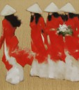 Young girls in red-Original Vietnamese Art