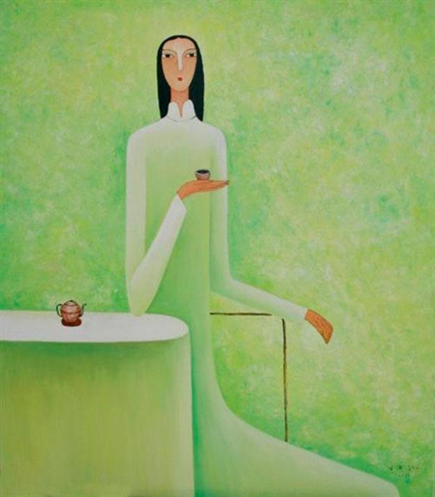 Young lady drinks tea-Original Asian Art
