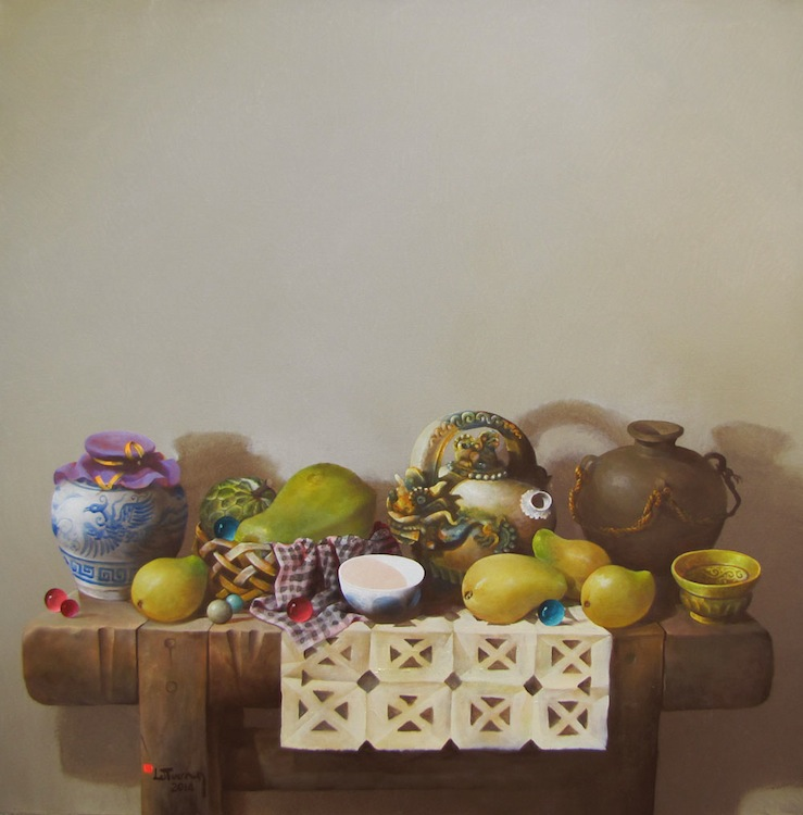 Still-life with fruit and antique pots 02-Original Vietnamese Art