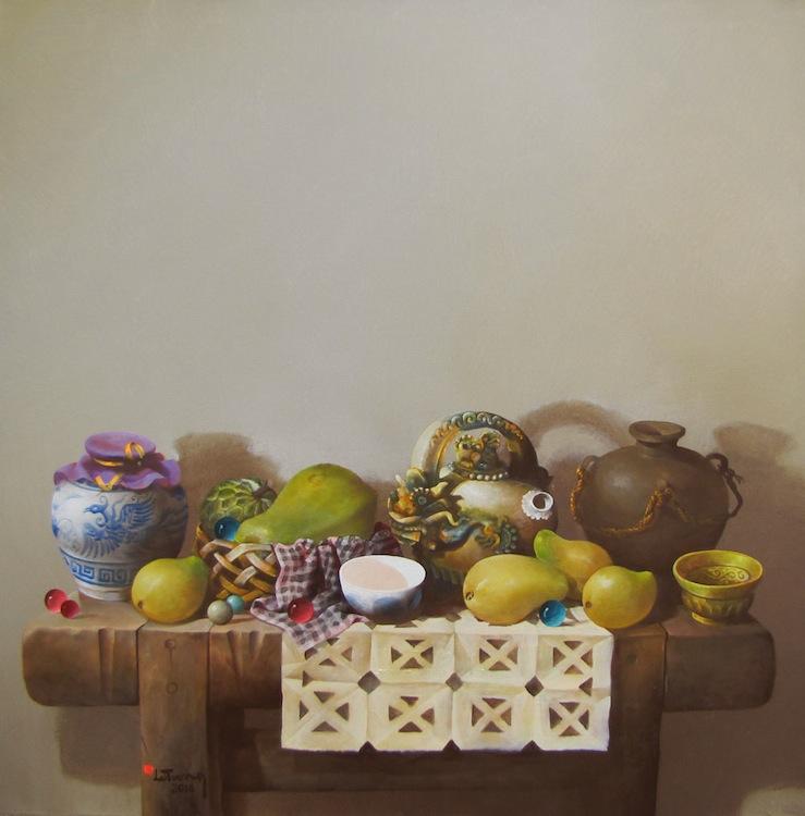 Still-life with fruit and antique pots 02-Original Vietnamese Art