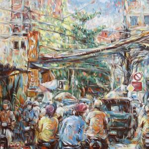 Busy street corner - Acrylic on canvas painting by Vietnamese Artist Tran Ngoc Duc