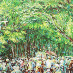 Busy-street-02-Acrylic-on-canvas-painting-by-Vietnamese-Artist-Tran-Ngoc-Duc