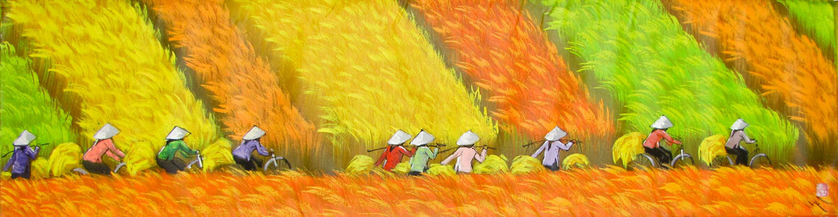 Harvest on the rice field-Vietnamese Painting