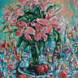 Still-life-with-lily-flowers-Acrylic-on-canvas-painting-by-Vietnamese-Artist-Tran-Ngoc-Duc