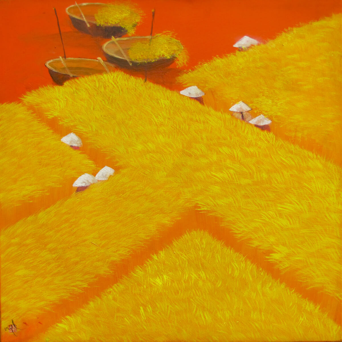 Working on the rice field 01-Vietnamese Painting