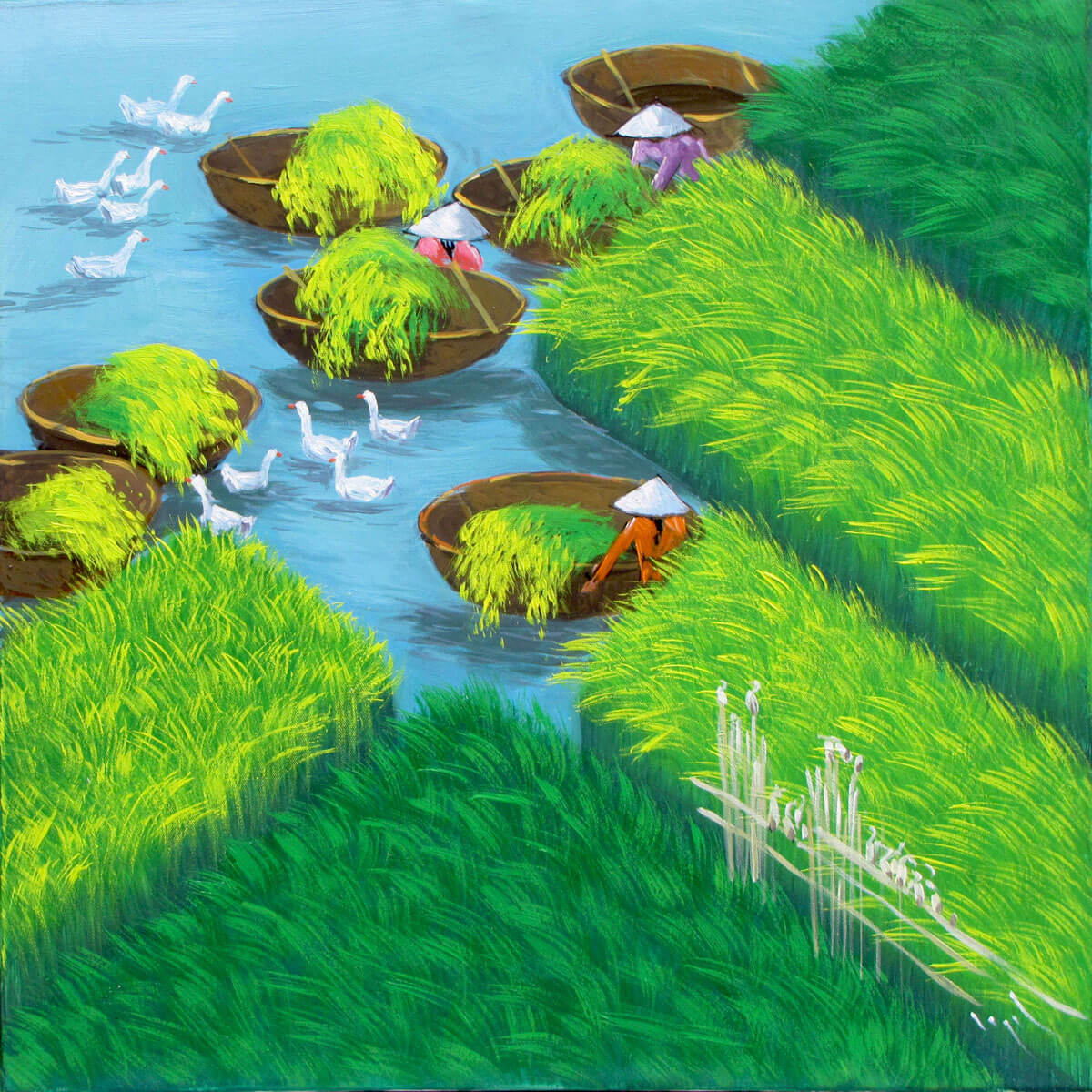 Early morning on the rice field 01-Vietnamese Painting