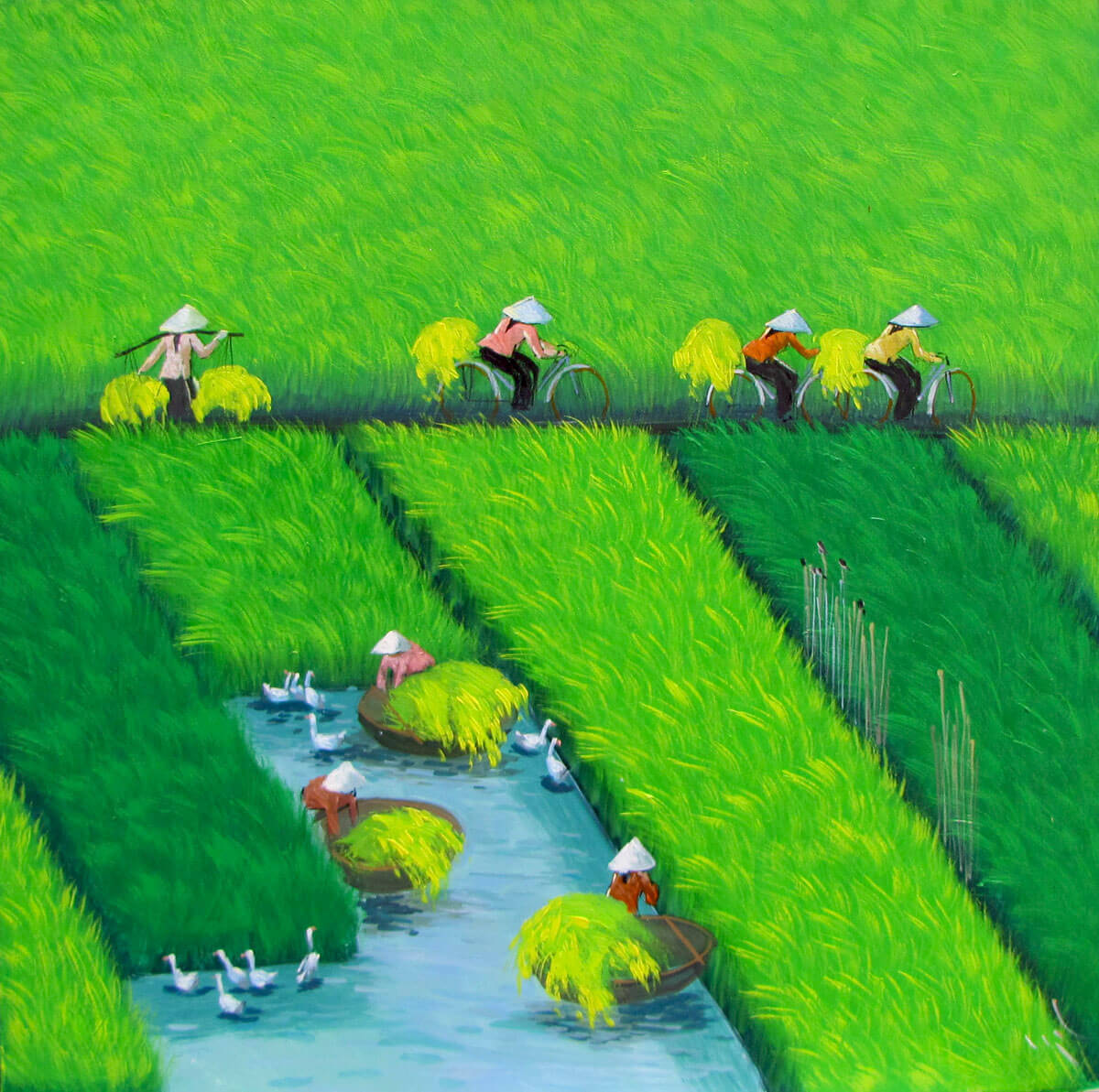 Early morning on the rice field 02-Vietnamese Painting