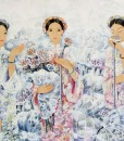 Ladies with lotus flowers-Original Asian Art