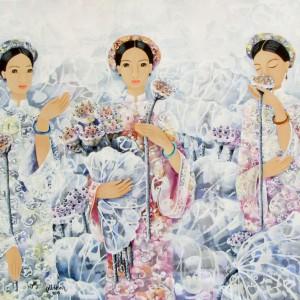 Ladies with lotus flowers-Original Asian Art