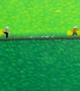 On the paddy field-Vietnamese Painting