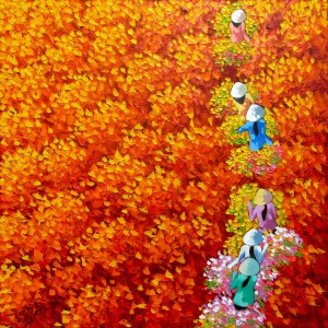 Red flower field 01-Original Vietnamese Art