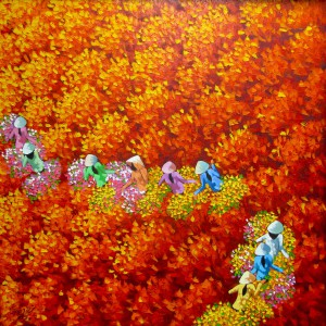 Red flower field 03-Original Vietnamese Art