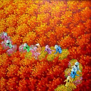 Red flower field 03-Original Vietnamese Art