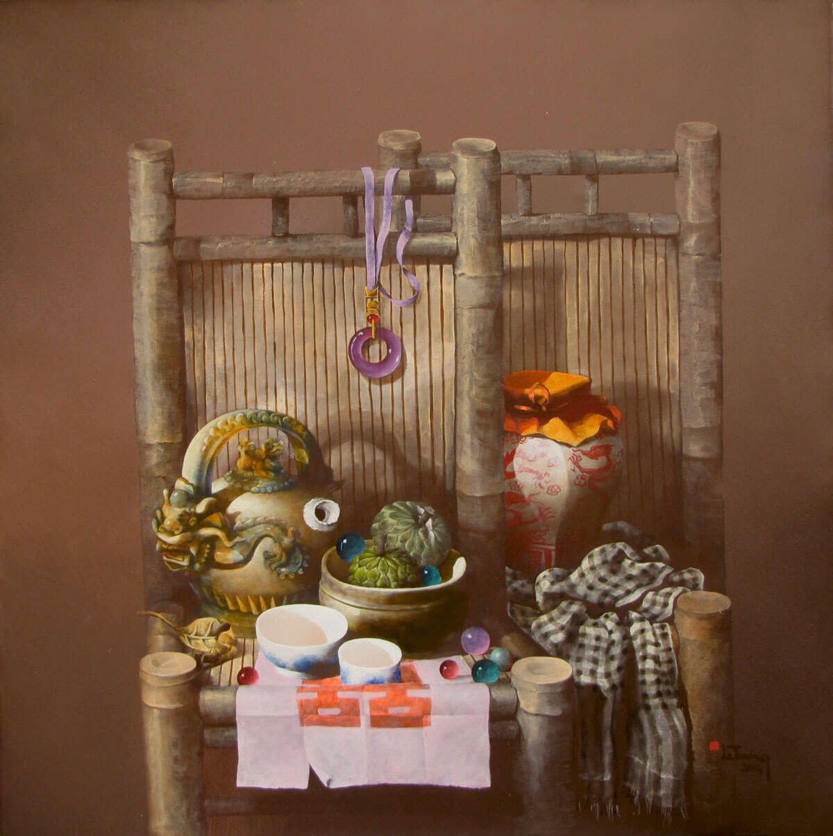 Still-life with fruits and antique pots 03-Original Vietnamese Art